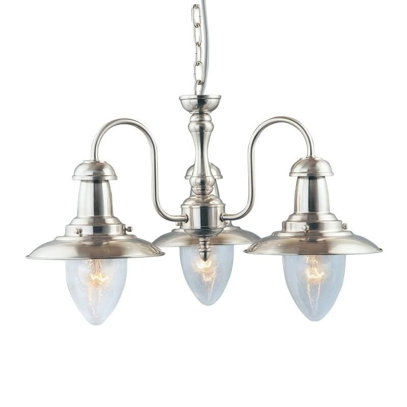Maritieme hanglamp FISHERMAN, zilver gesatineerd