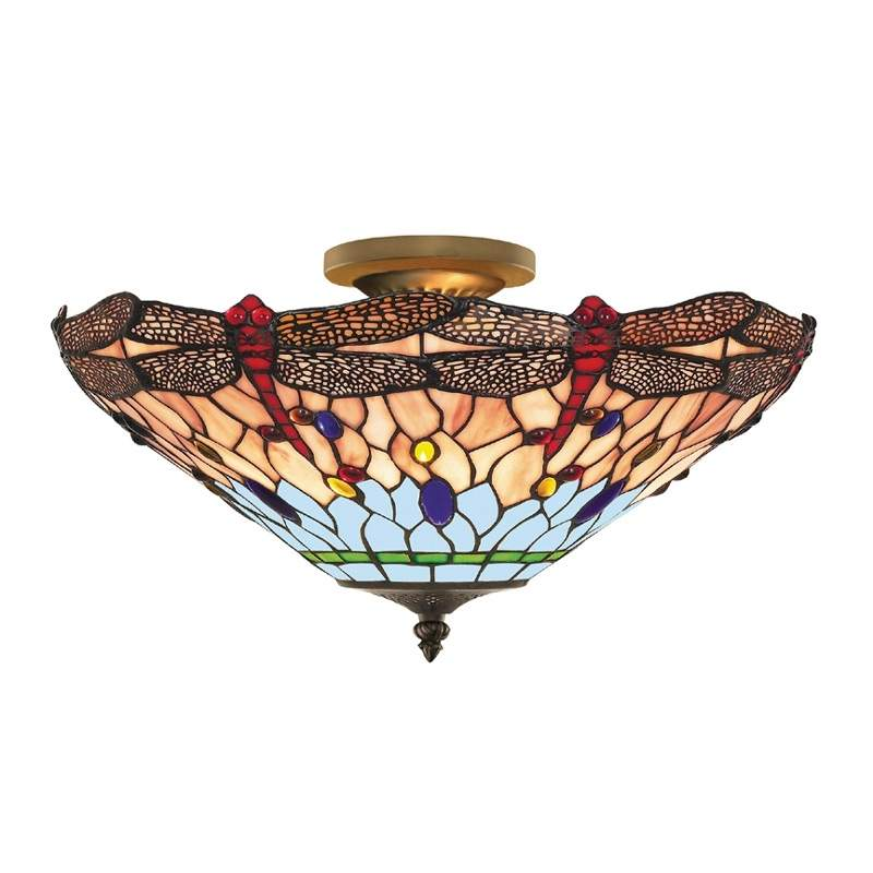 DRAGONFLY - plafondlamp in Tiffany-stijl