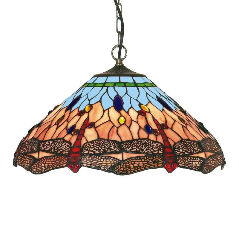 Klassieke Tiffany-stijl hanglamp DRAGONFLY