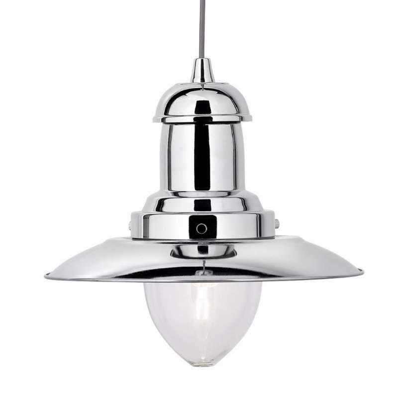 Chroomkleurige hanglamp Fisherman, 1-lichts
