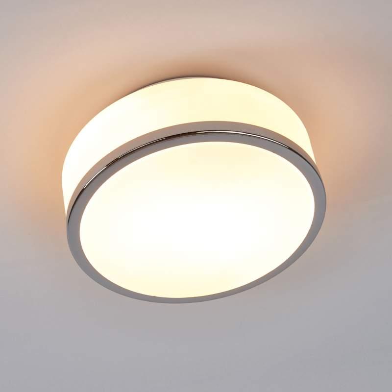 Eenvoudige plafondlamp Flush chroom IP44, 23cm
