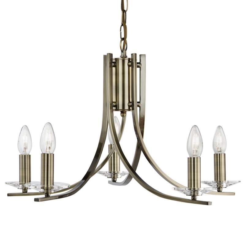 5 lichtbronnen Hanglamp Ascona in antieke look