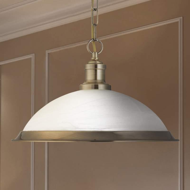Glazen hanglamp Bistro in glanzend goud