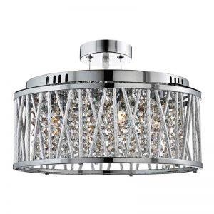 Met glaskristallen versierde hanglamp Elise