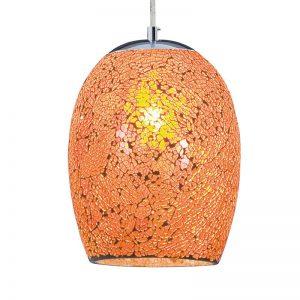 Hanglamp Crackle in oranje chroom