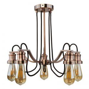 Extravagante hanglamp Celi 5-lamps antiek koper