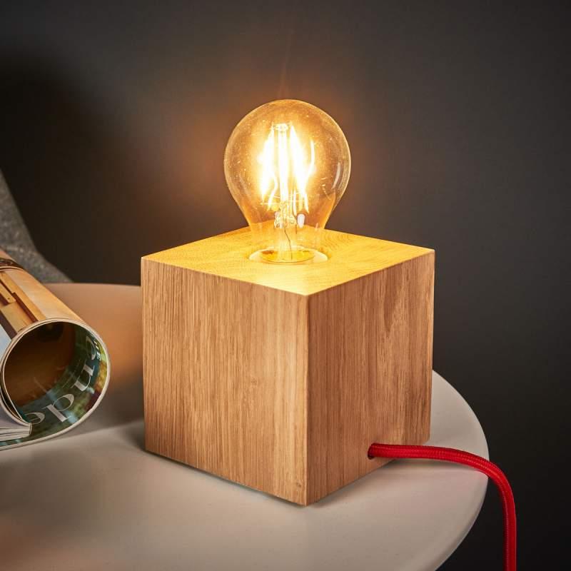 Kubusvormige tafellamp Trongo, rode kabel