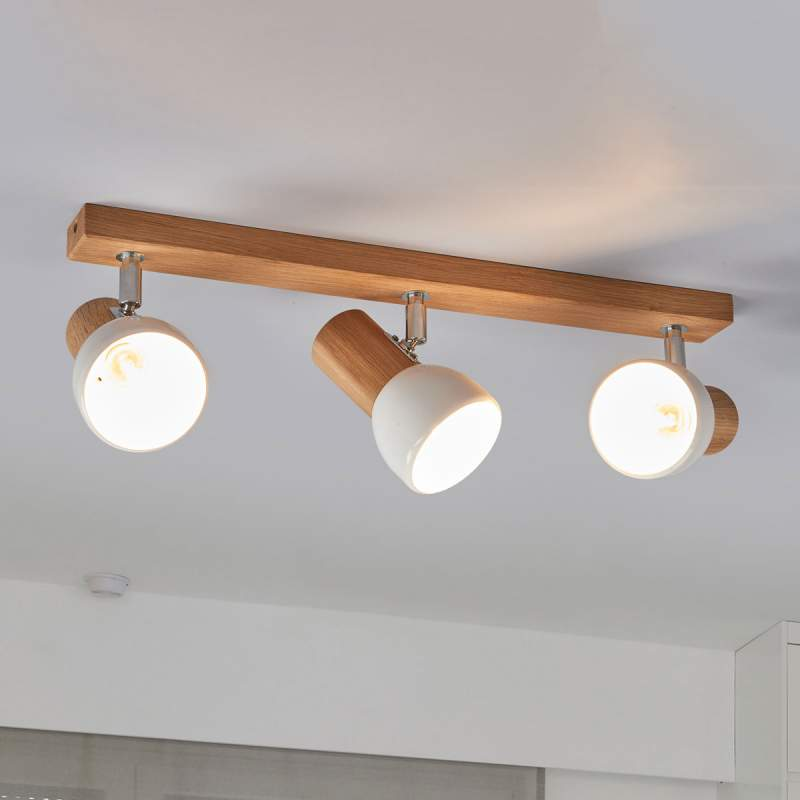 Svenda - houten plafondlamp met drie lichtbronnen