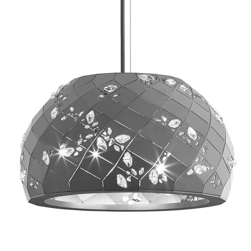 Apta - hanglamp met Kristallen 37cm, grijs