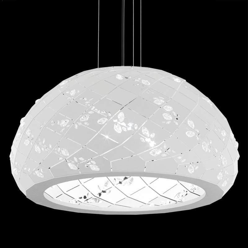 Met kristallen bezette hanglamp Apta in wit, 53 cm