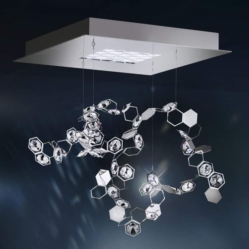 Kristallen pendellamp Crystalon met LED's, 39x39cm