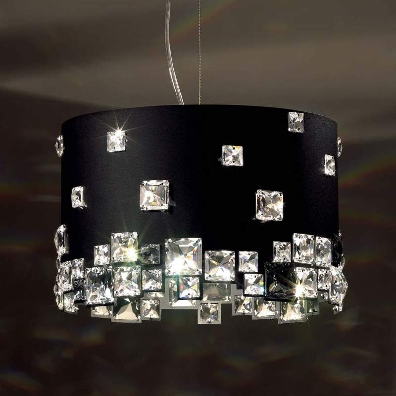 Zwarte kristallen hanglamp Mosaix