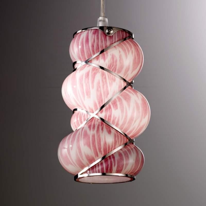 Roze hanglamp Orione met rvs elementen