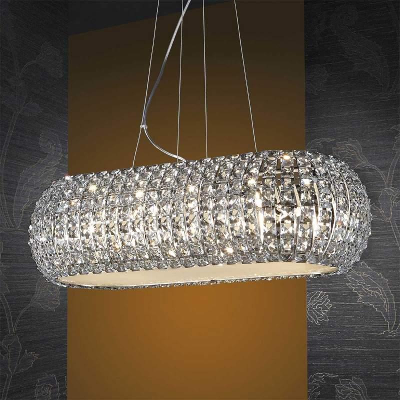Langwerpige hanglamp DIAMOND met kristallen