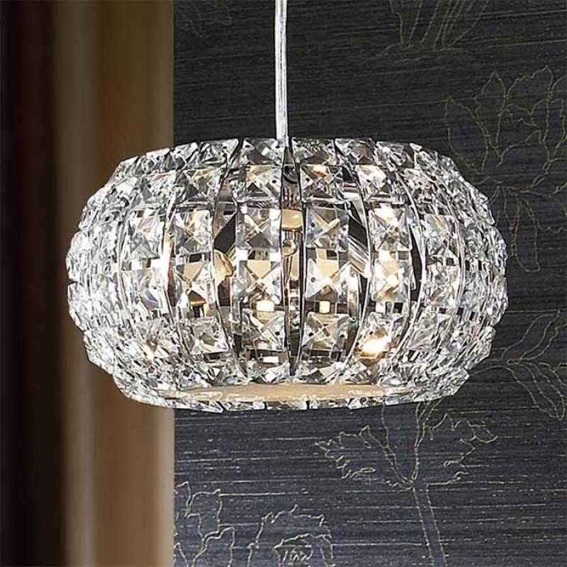 Kleine kristallen hanglamp DIAMOND, rond