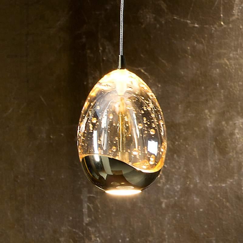 Éénflammige LED hanglamp Rocio, gouden finish