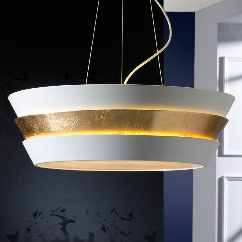 Elegante hanglamp Isis met wit-gouden kap