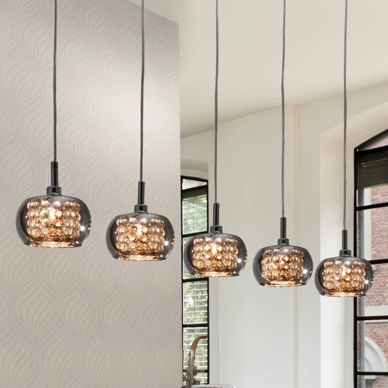 Vijfflammige glazen hanglamp Arian