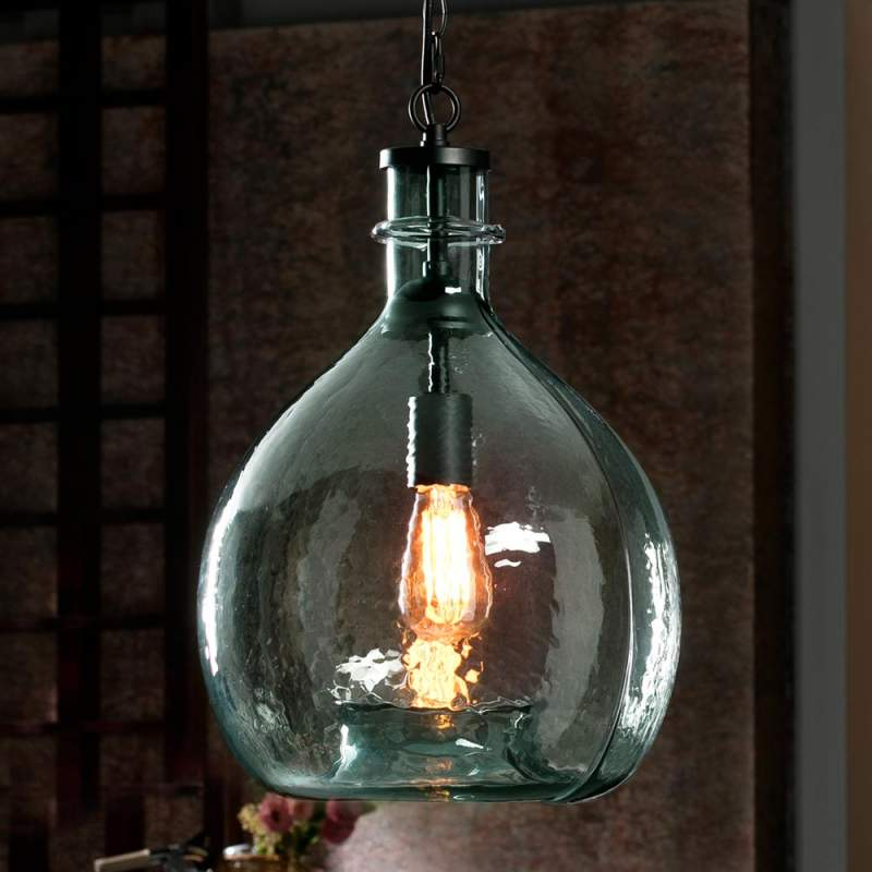Rustieke hanglamp Laia, blauw