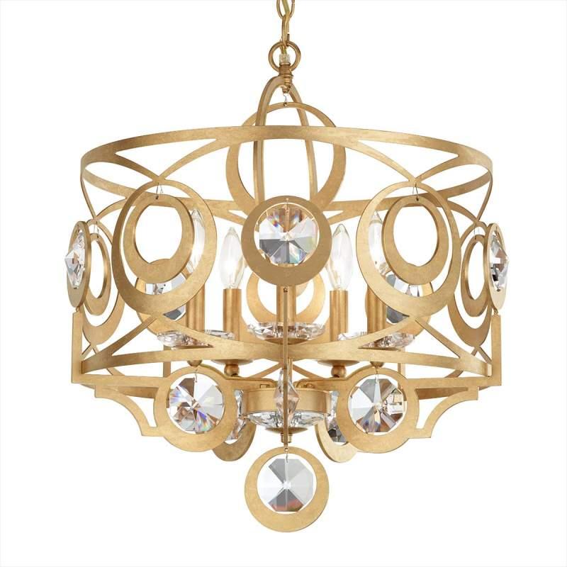 Gouden kristallen hanglamp Gwynn