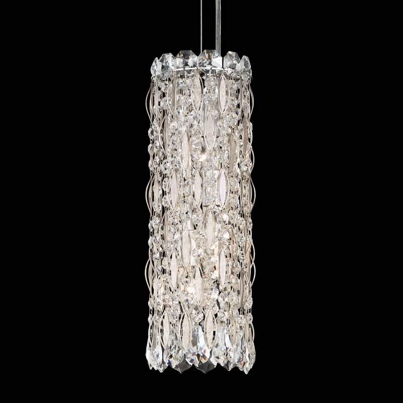 Slanke kristallen hanglamp Sarella, antiek zilver