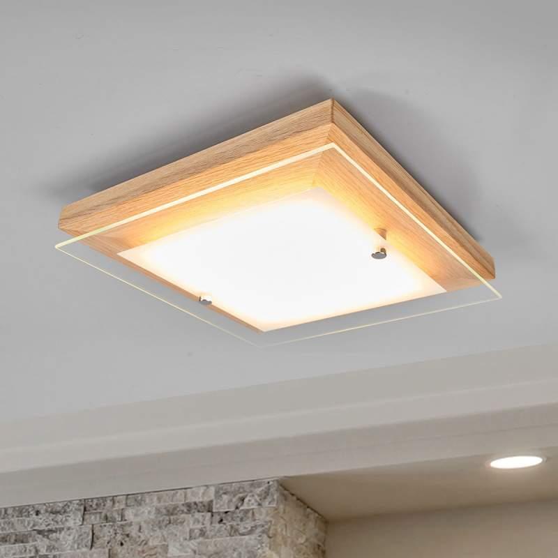 Houten plafondlamp Mylan LED's, easydim