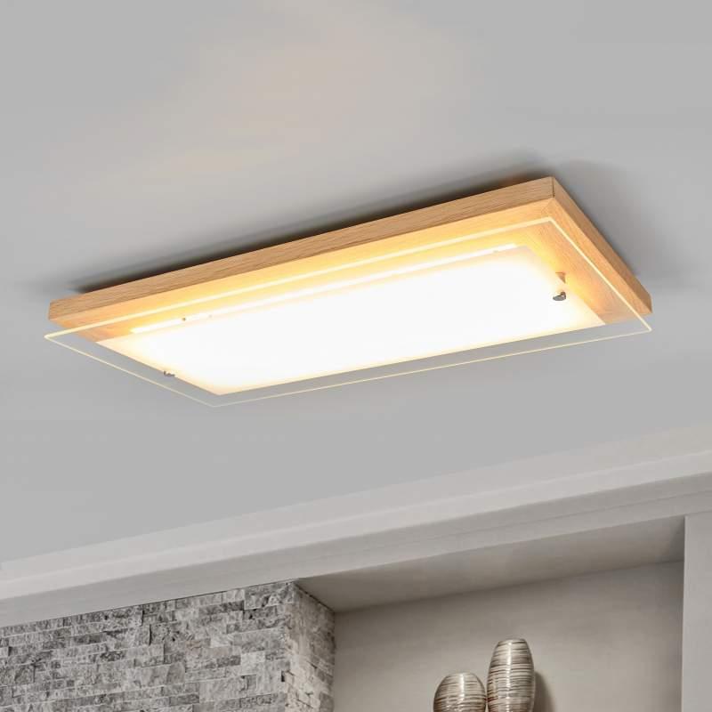 Per schakelaar dimbare LED plafondlamp Mylan, hout