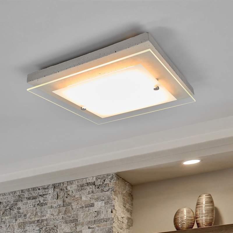 Hoekige LED betonnen plafondlamp Mylan, easydim