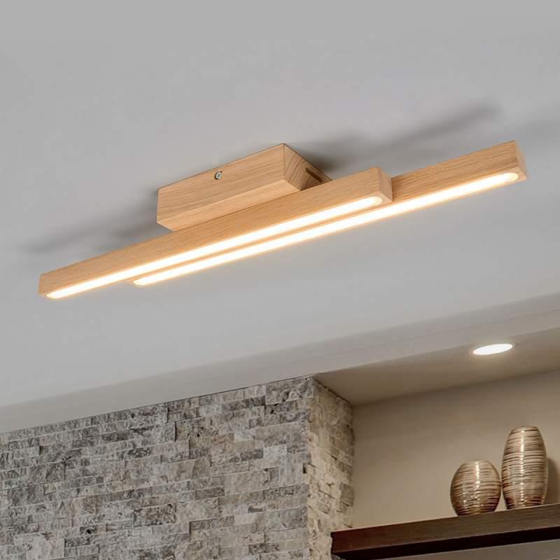 Eikenhouten plafondlamp Laney met warmwitte LED's