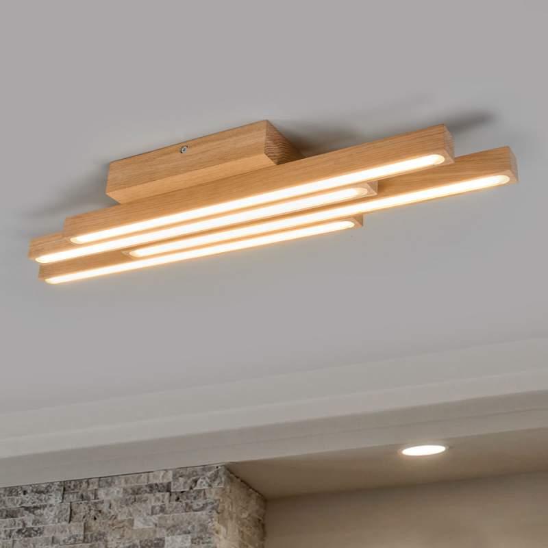 Houten LED plafondlamp Laney met vier lampen