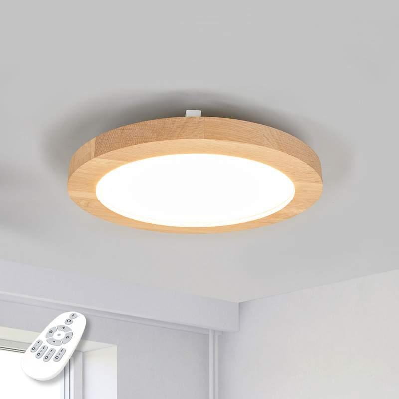 Ronde houten LED plafondlamp Addison, 2.700-6.200K