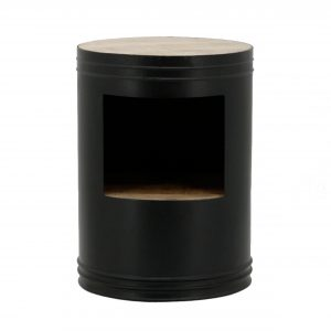 Bijzettafel Barrel Zwart
