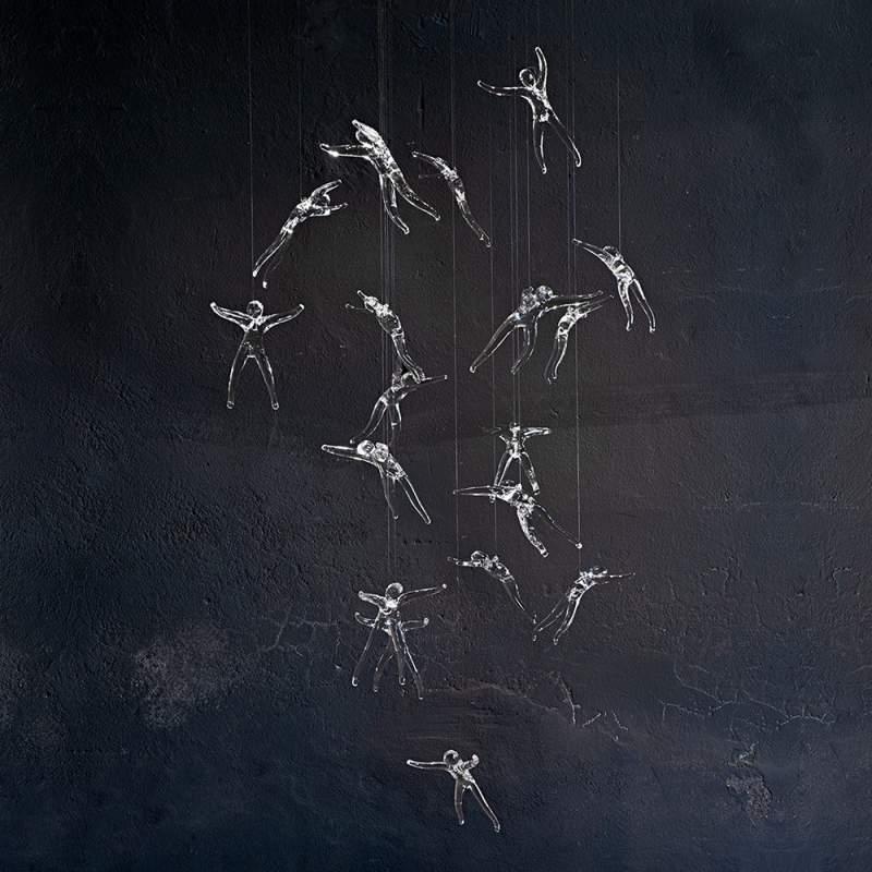 Kristallijne hanglamp Angel Falls met 18 engelen