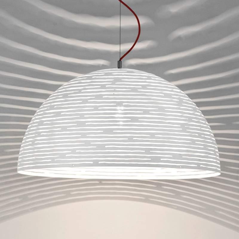 Opvallende hanglamp Magdalena, wit, 50 cm