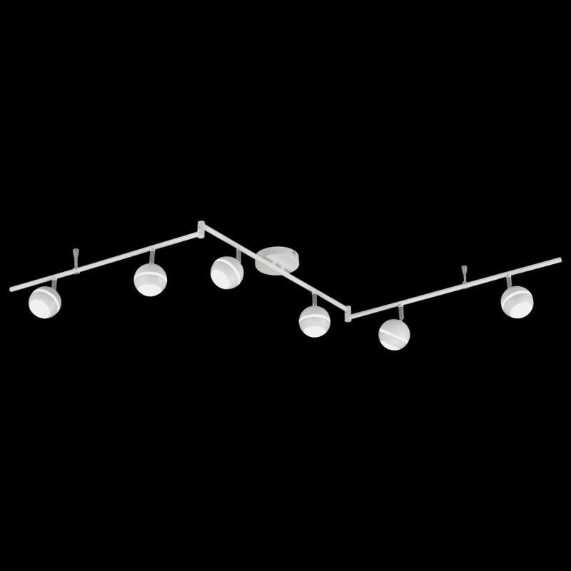 6-lichts plafondlamp Groove met 5W-leds, wit