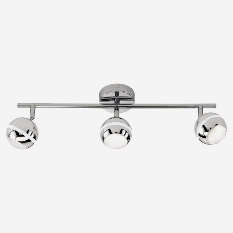 Chroomkleurige led-plafondlamp Groove, 3 x 5W