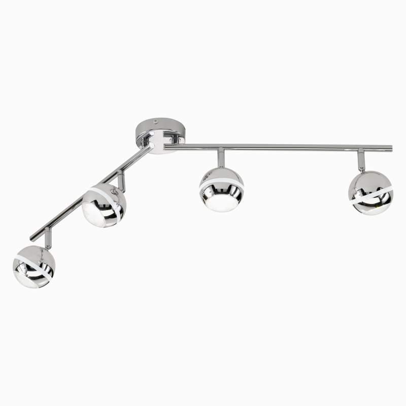 led-plafondlamp Groove 4-lichts, chroom