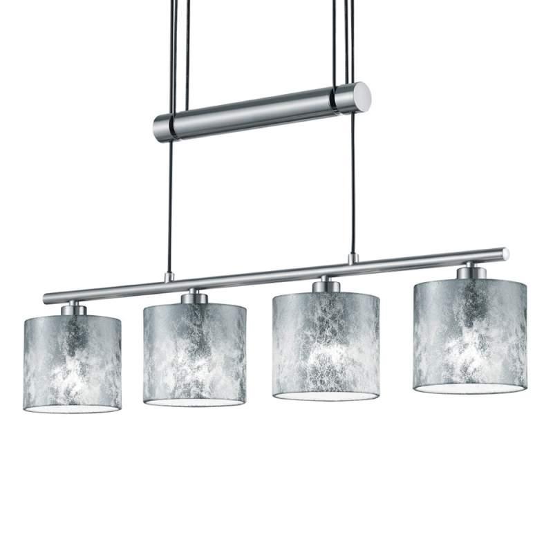 Hanglamp Garda vierflammig m. kunststof kap zilver