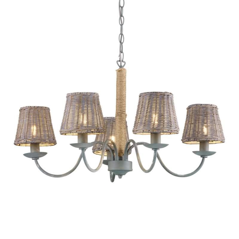 Landelijke rustieke hanglamp Rotin 5-flg.