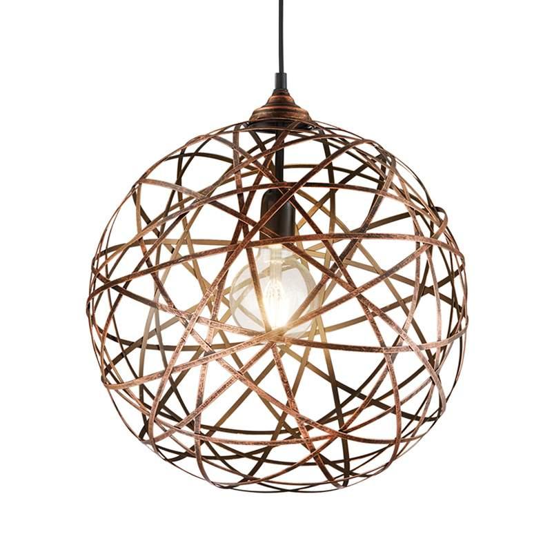 Antieke koperkleurige hanglamp Jacob