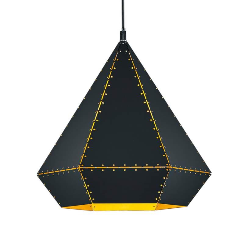 Mat zwarte hanglamp Houston in goud