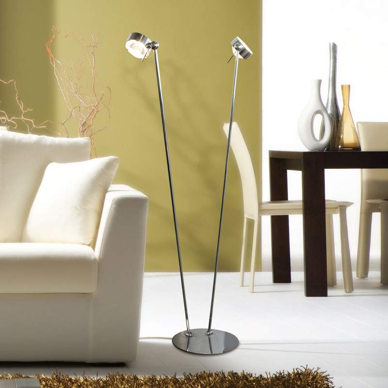 Meerv. instelbare vloerlamp PUK FLOOR, mat chroom