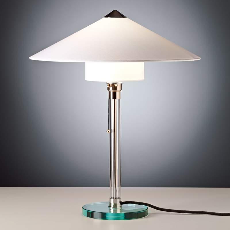 Meesterlijke Wagenfeld-tafellamp, onderkap recht