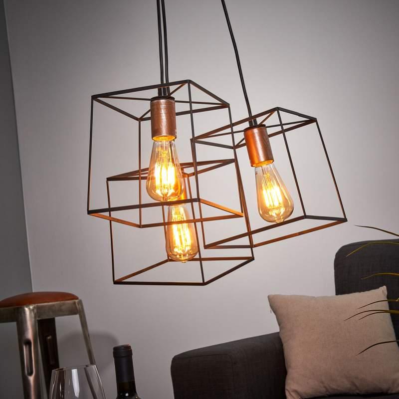 Hanglamp Agatha in vintage-look drie lichtbronnen