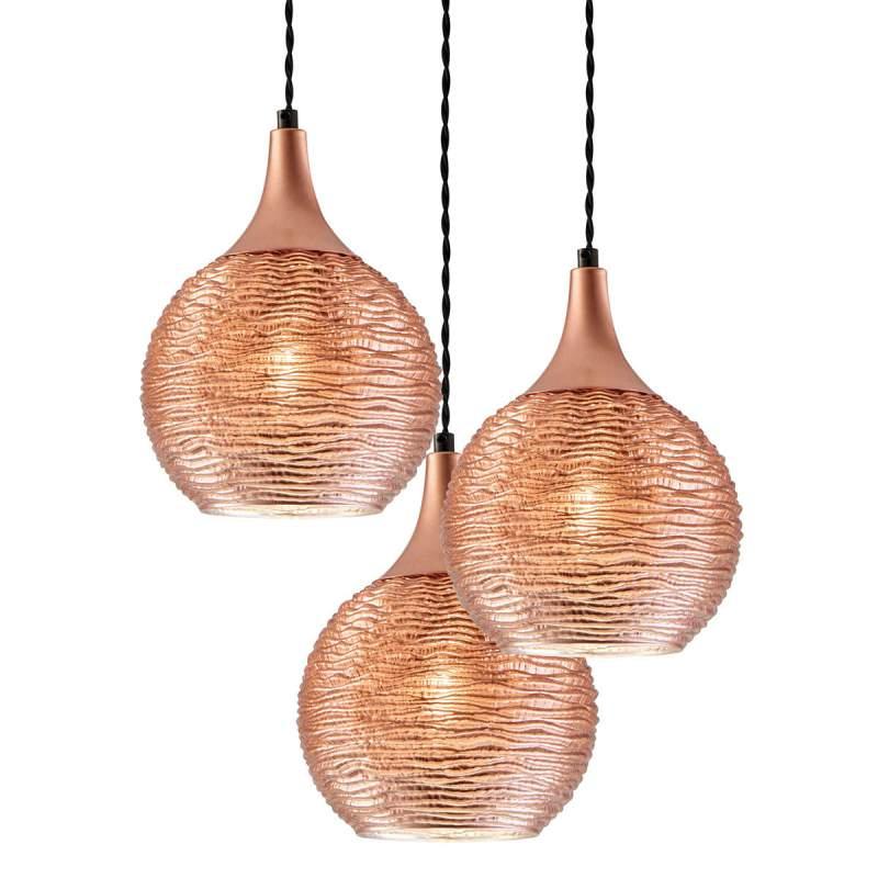Fiona - hanglamp in koper met drie lampen