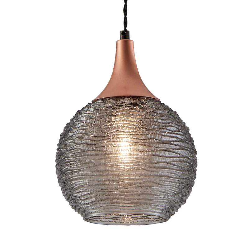 Rookkleurige glazen hanglamp Fiona