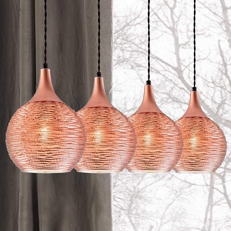 Balkvormige hanglamp Fiona in koper, 4 lampen