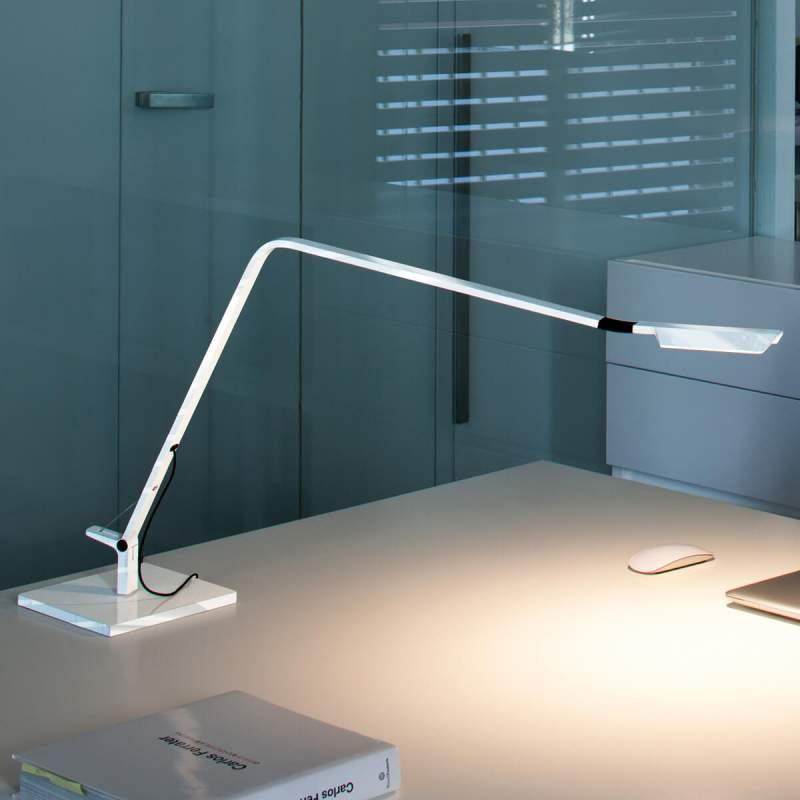 Led tafellamp Flex, glanzend wit