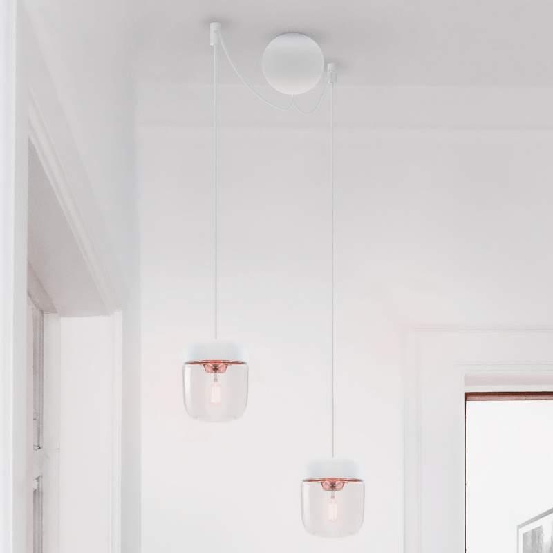 UMAGE hanglamp Acorn wit/koper, 2 lampen