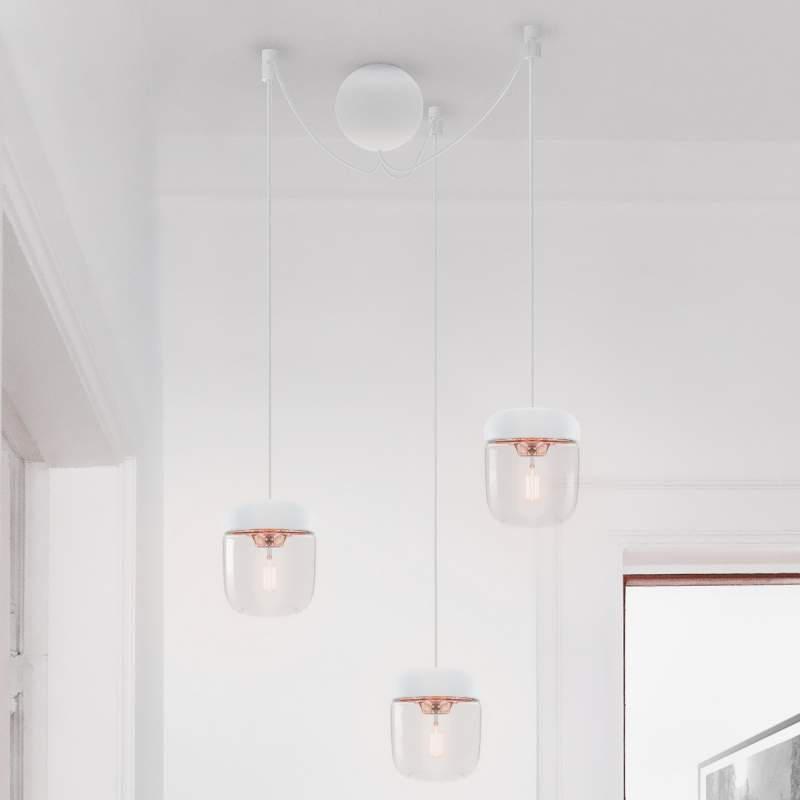 UMAGE Acorn hanglamp, wit/koper, 3 lampen